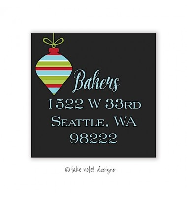 Christmas Return Address Labels, Ornament on Black, Take Note Designs