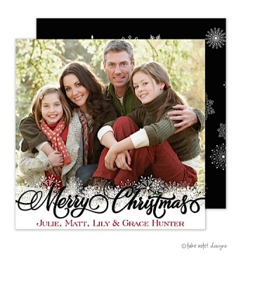 Christmas Digital Photo Cards, Snowflake Overlay, Take Note Designs