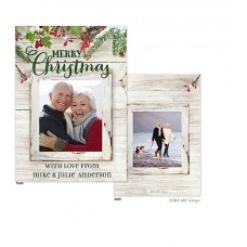 Christmas Digital Photo Cards, Rustic Evergreen Boughs, Take Note Designs