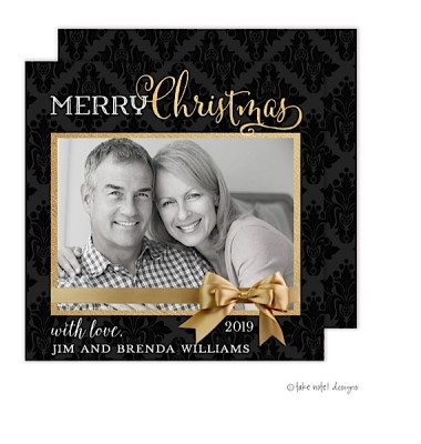 Christmas Digital Photo Cards, Damask Gold Wrap, Take Note Designs