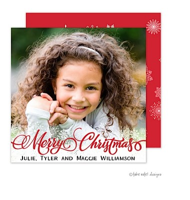 Christmas Digital Photo Cards, Snowflake Overlay - Red, Take Note Designs