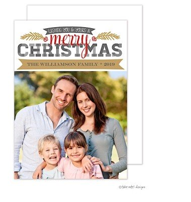Christmas Digital Photo Cards, Christmas Berries Accent Red, Take Note Designs