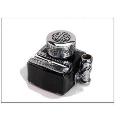 Glass Inkwell with 2 Pen Rests - filled with Ink, Freund Mayer