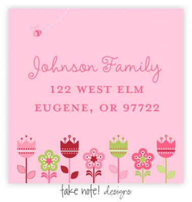 Return Address Labels, Flower Garden, take note! designs