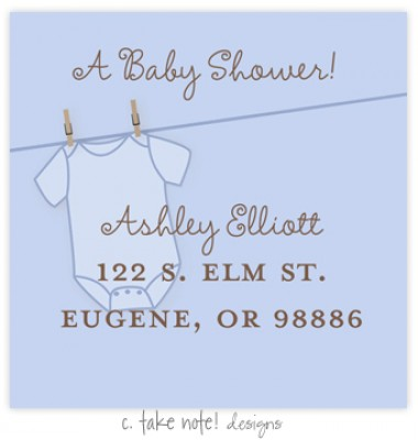 Return Address Labels, Blue Onesie, take note! designs