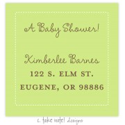 Return Address Labels, Green White Stitch Frame, take note! designs