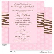 Baby Shower Invitations, Zebra Print Pink Dots, take note! designs