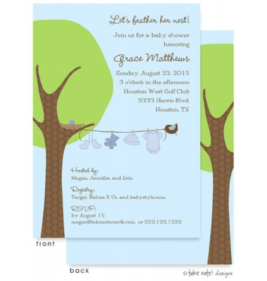 Baby Shower Invitations, Little Boy Clothes Line, take note! designs