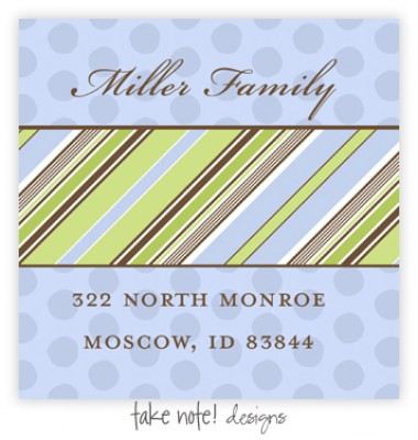Return Address Labels, Blue Slant Stripe on Polka, take note! designs