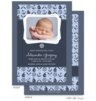 Birth Announcements, Alexander Gregory Sailor, take note! designs