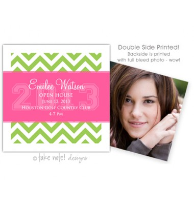 Graduation Mini-Vites, Preppy Chevron, take note! designs