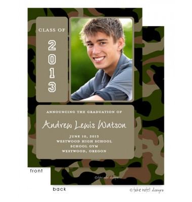 Graduation Photo Invitations, Camo Frame, take note! designs